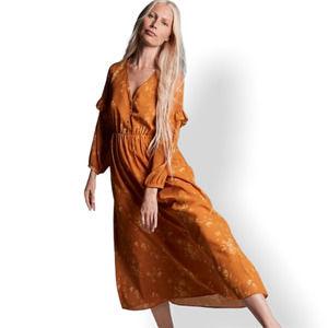 Madewell Ruffle-Sleeve Floral Dress Mustard Yellow